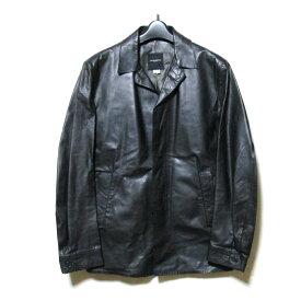 美品 CoSTUME NATIONAL HOMME コスチューム ナショナル オム 「46」 イタリア製 リアルレザージャケット (黒 ブラック テーラード 比翼ボタン) 119815 【中古】