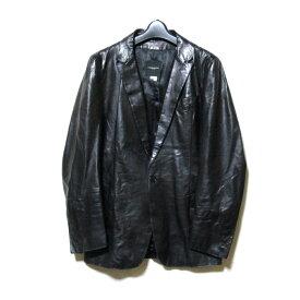 美品 CoSTUME NATIONAL HOMME コスチューム ナショナル オム 「46」 イタリア製 リアルレザー1Bジャケット (黒 ブラック テーラード 比翼ボタン) 119816 【中古】