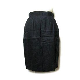 美品 Vintage Christian Dior ヴィンテージ クリスチャン・ディオール 「40」 フランス製 リネンスカート (黒 麻 定番 ドレープ) 120050 【中古】