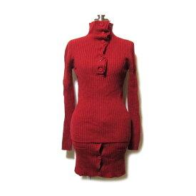 Jean Paul GAULTIER ジャンポールゴルチエ 「40」 サーマルニットセットアップスーツ (ゴルチェ 赤 レッド スカート) 120184 【中古】