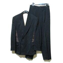 JeanPaulGAULTIERHOMMEジャンポールゴルチエオム「48」スポーティラインデザインのダブルブレスセットアップスーツ(ゴルチェ黒ブラックアヴァンギャルド)120189【中古】