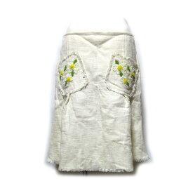 MOSCHINO モスキーノ 「I42」 イタリア製 フラワー刺繍スカート (オフホワイト 花柄) 120200 【中古】