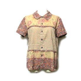 美品 tricot COMME des GARCONS トリコ コムデギャルソン フラワーパターンブラウス (半袖 花柄 小紋 丸襟) 120768 【中古】
