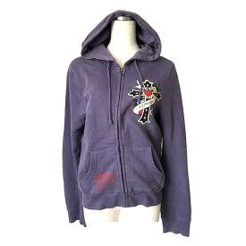 ED HARDY エドハーディー タトゥースエットパーカー (紫 パープル ブルゾン ユニセックス ジャケット) 120863 【中古】