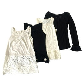 美品 axes femme アクシーズファム フリルフェミニンカットソー 4枚セット (黒 白 Tシャツ) 120876 【中古】