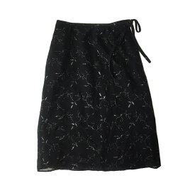 新品同様 marie claire マリクレール リーフ刺繍スカート (黒 ブラック) 120892 【中古】
