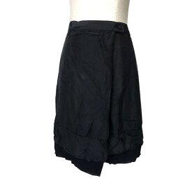 美品 ZUCCA ズッカ シルクラップスカート (黒 絹 天然素材 ブラック) 121234 【中古】