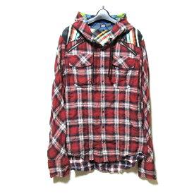 L.G.B. ルグランブルー 「1」 タータンチェックネルシャツパーカー (LGB 赤) 123159 【中古】