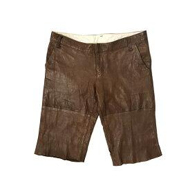 HERHIS ハリス シープスキンレザーショートパンツ (ブラウン 革 皮) 123258 【中古】