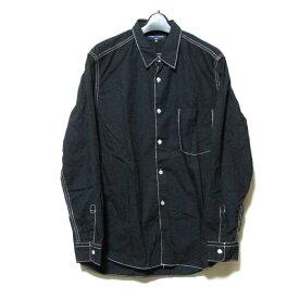 COMME des GARCONS HOMME コムデギャルソンオム 「M」 2003 製品染ステッチシャツ (黒 ブラック ピンク) 123401 【中古】