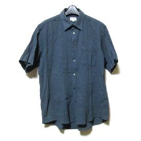 Vintage BURBERRY ヴィンテージ バーバリー 「LY」 定番クラシックシャツ (紺 グレー 半袖) 123931 【中古】