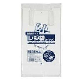 レジ袋 関東45号/関西45号 乳白 100枚入 省資源タイプ ジャパックス HDPE 【送料無料】