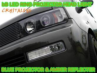 水晶眼睛bB NCP30派LED烏賊環投影機車頭燈琥珀色反射器黑色型犀牛開NCP30/31/35