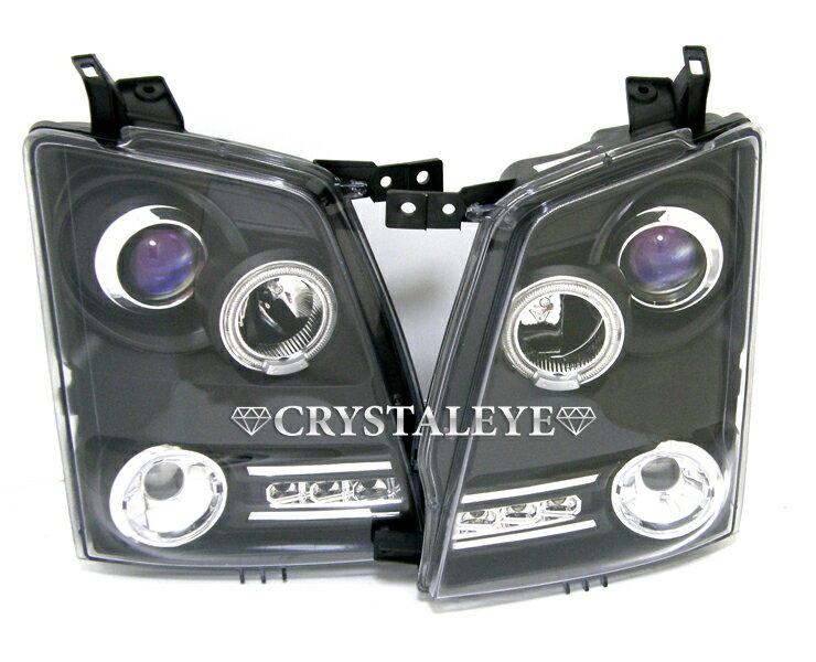 MJ21S 22S AZワゴン(ワゴンR)SMD ダイヤモンドLEDイカリングプロジェクターヘッドライトブラックタイプクリスタルアイ