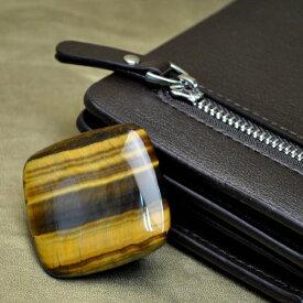 【限定商品】スクエア型 タイガーアイ(虎目石)カボション(最高品質クラス 40mm×40mm 厚さ5.5mm 約17g 持ち歩き用袋付)※写真と同等の商品をお届けします