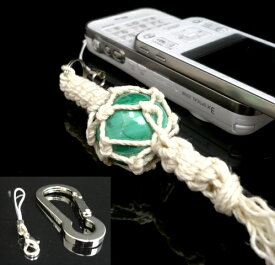 【水晶工房特選】 オリジナル携帯ストラップ(25mmの最高品質クラス 天然マラカイト使用)鍵フック付(ブラジル産 完全天然石)
