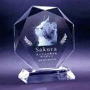 ペット クリスタル位牌 ダイヤカット 高さ160mm、愛しい姿をクリスタルに留めます。加工料、デザイン料無料、送料無…