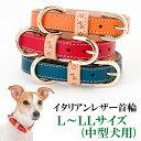 犬の首輪 犬首輪 中型犬用イタリアンレザー首輪 L〜LLサイズ【楽ギフ_包装】いぬ くびわ