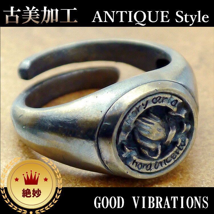 ku アンティーク必見 プレイハンド聖母マリア リング メンズ 指輪 クリスチャン 真鍮フリーサイズFREE SIZE GOOD VIBRATIONS