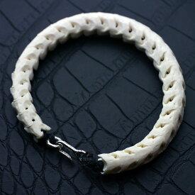 si 蛇の骨 ブレスレット メンズ 白[クリップ仕様]スネーク ボーン 蛇骨 ヘビの骨 パイソン ヘビの骨 ホワイト ブレスレット メンズ[logi]