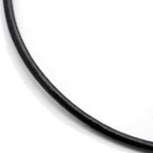 ※簡単ワンプッシュ|レザーチョーカーメンズ|黒[3mm46cm]本革ネックレスブラックプッシュ式[シルバーワン]パンクネイティブ系インディアンジュエリー革紐皮紐皮ひも革ひも革ヒモ皮ヒモアクセサリー【2品で送料無料】