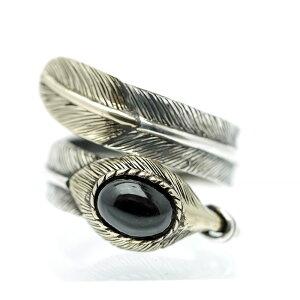 sa スパイラル フェザーリング シルバー925 ブラックスター|一枚羽 翼 羽 パワーストーン 黒 ネイティブ系 シルバーリング 指輪 メンズ GOOD VIBRATIONS イーグル シングルフェザー 透輝石 インデ