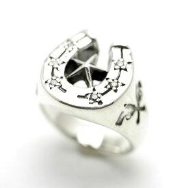 bi シルバー925 馬蹄ホースシュー スターリング メンズ(19号 21号) ひずめ 星 シルバーリング 指輪 お守り 幸運 男性用 シルバーアクセサリー