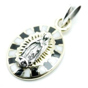 シルバー925 グアダルーペの聖母マリア 白黒ペンダントトップ ネックレス チャーム メンズ bo (金 ゴールド ツートンカラー) (アンティーク GOOD VIBRATIONS シルバーアクセサリー)