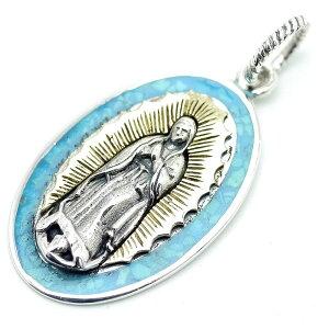 シルバー925 グアダルーペの聖母マリア ターコイズ ペンダントトップ ネックレス メンズ bo (金ゴールド 青ブルー) (アンティーク GOOD VIBRATIONS シルバーアクセサリー)