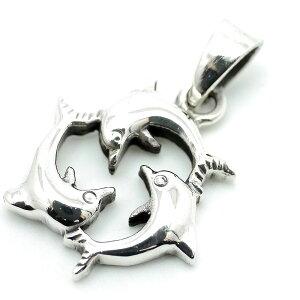 シルバー925 イルカ トルネード トリプル ドルフィン ペンダントトップ ネックレス メンズ bo (海 マリン 夏 サマー シルバーアクセサリー)