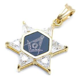 フリーメイソン 六芒星 ペンダントトップ ネックレス メンズ bo (ジルコニア 金 黒)_(ダビデの星 ヘキサグラム ゴールド ブラック フリーメーソン)