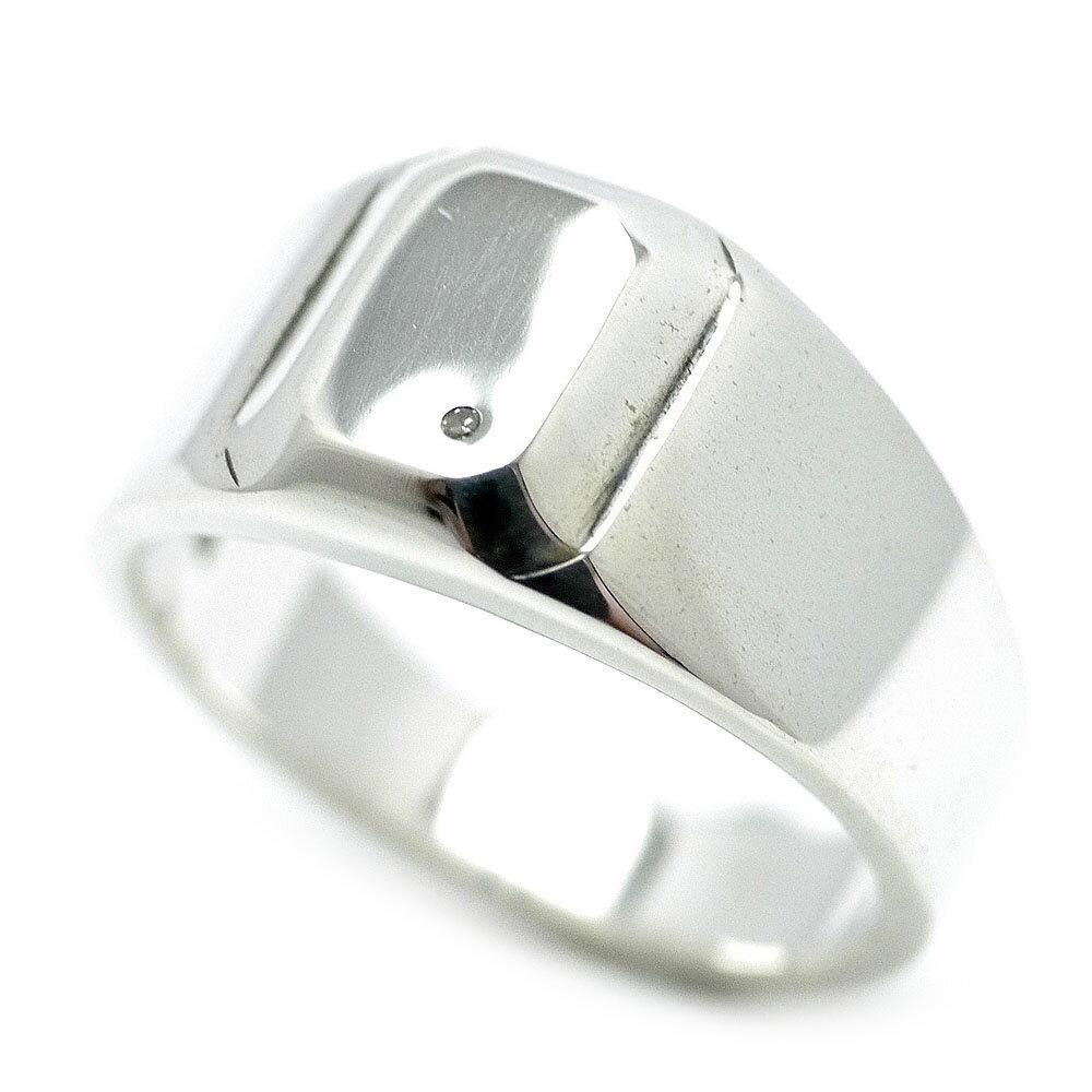 ダイヤモンド シルバー925 印台リング メンズ mh シンプル 0.005ct [19号 21号] (GOOD VIBRATIONS 指輪 平打ち 男性用 アクセサリー)