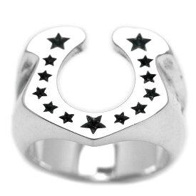 シルバー925 ホースシュー スター リング メンズ mh [19号 21号] (馬蹄 ひずめ 星 シルバーリング 指輪 お守り 幸運 男性用 シルバーアクセサリー)