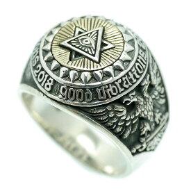 シルバー925 プロビデンスの目 六芒星 カレッジリング メンズ ko [19号 21号] 万物を見通す目 ダビデの星 フリーメイソン(GOOD VIBRATIONS ヘキサグラム 指輪 真実の目 アイ シンボル マーク シルバーアクセサリー)