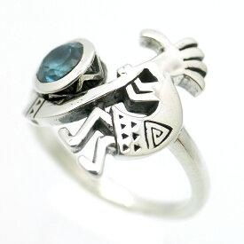 シルバー925 ココペリ ピンキー リング メンズ a1 ロンドンブルートパーズ [11号 13号] (GOOD VIBRATIONS 指輪 ホピ族 インディアンジュエリー ネイティブ系 シンプル カチナ シルバーアクセサリー)