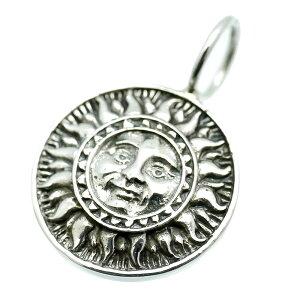 シルバー925 マヤの太陽 ペンダントトップ メンズ a4 コイン型 (GOOD VIBRATIONS サン マーク フェイス ネックレス 顔 アステカ 文明 メキシコ シルバーアクセサリー)