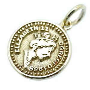 エリザベス2世 コイン ペンダント チャーム トップ 金色 メンズ m1 真鍮製 ゴールド(金 ネックレス 旧通貨 古銭 イギリス アンティーク 顔 UK レディース)