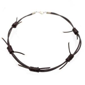 有刺鉄線 トゲトゲ パンク レザー チョーカー ネックレス メンズ m2 43cm ダーク ブラウン(革 皮 ロック ハード)
