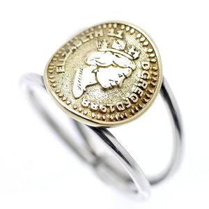 シルバー925 エリザベス2世 ゴールド コイン リング メンズ c6 フリーサイズ(金 指輪 旧通貨 古銭 イギリス ブラス 真鍮 アンティーク 顔 UK レディース)