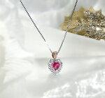 pt900ハートシェイプルビー/ダイヤモンドペンダント