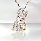 K18YG0.2ctダイヤモンドキャットモチーフペンダント