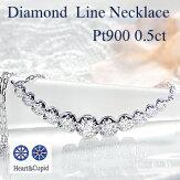pt900ハートアンドキューピットダイヤモンドラインネックレスペンダント