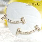 K18YG【0.14ct】ダイヤモンドスマイルピアス