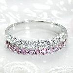 ピンクサファイヤダイヤモンド二連エタニティリング