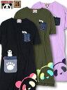 【PANDIESTA JAPAN】パンダ刺繍入りポケット切替チュニックワンピース: 別注 | 和柄 当店限定 ワンピース Tシャツワンピ Tシャツ おしゃれ カジュアル カットソー 切り替え コットン