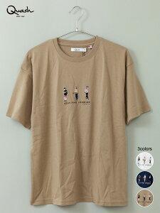 """【QUASH】""""Three People"""" 刺繍入り プリント Tシャツ   半袖T ティーシャツ 通販 夏 夏服 メンズ 白 ホワイト 黒 ブラック ベージュ M L XL LL 2L 大きいサイズ 大きめ ゆったり 人気 おすすめ おし"""