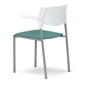 会議用チェア4脚セット パイプ椅子 粉体塗装脚 肘掛付き 【個人宅不可】 MC-202WG