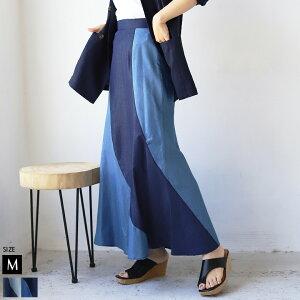 配色デザインデニムスカート(112-96010)
