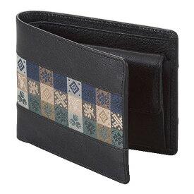 石畳緞子 11.5×9.5×3cm ブラック美術工芸織物■ 日本古来の伝統絹織物をあしらったの牛革使用ウォレット