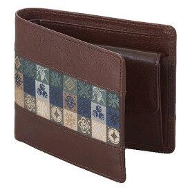 石畳緞子 11.5×9.5×3cm ブラウン美術工芸織物■ 日本古来の伝統絹織物をあしらったの牛革使用ウォレット
